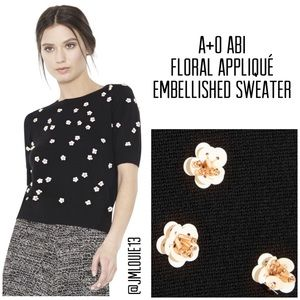 Alice + Olivia Abi Floral Embellished Sweater